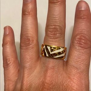 Coach Gold/White/Brown Ring